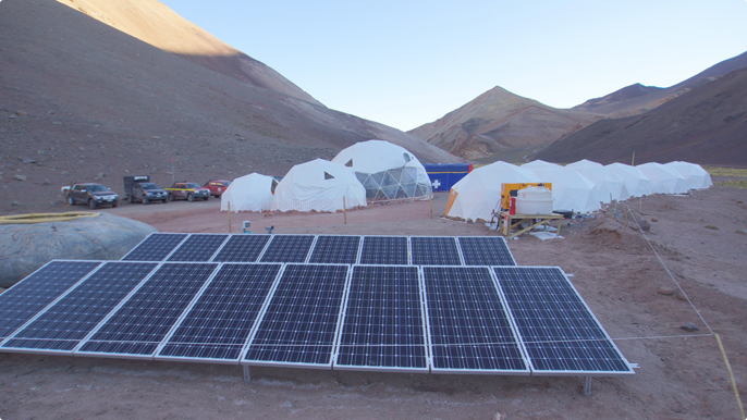 Solar energy fuels our mineral exploration camp in the middle of the Andes, in the region of Atacama, in Chile, at an altitude of 4,000 meters.