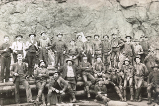 old fashion group of male Vale employees