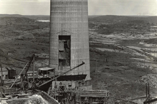 Tall smelter chimney
