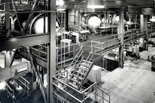 The interior of the Copper Cliff Nickel Refinery