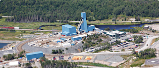 An aerial shot of the Totten Mine operation