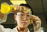 A Vale chemist testing an experiment in the lab