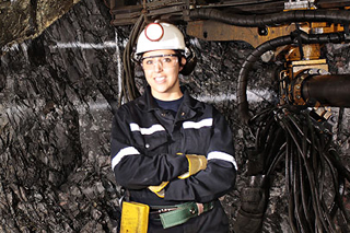 A female Vale employee hard at work in the mine