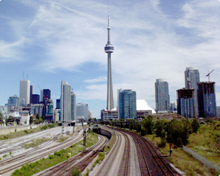 A view of the Toronto skyline from the Gardiner Expressway