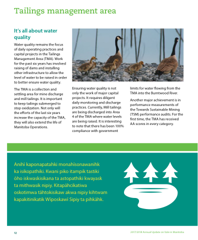 2017/2018 Annual Update on Vale in Manitoba